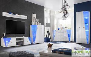 Dettagli su Mobili soggiorno MALIBU bianco opaco lucido parete attrezzata  moderna led design