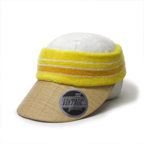 Vintage Year Terry Cloth Crown Straw Visor Sun Sports Hat