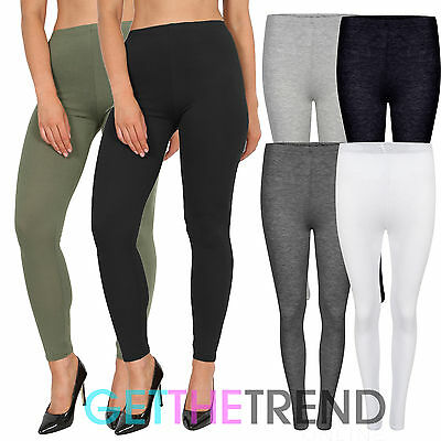 NEW LADIES UK SIZES 8-14 WHITE OR RED STRETCH JERSEY FULL LENGTH LEGGINGS *SALE*