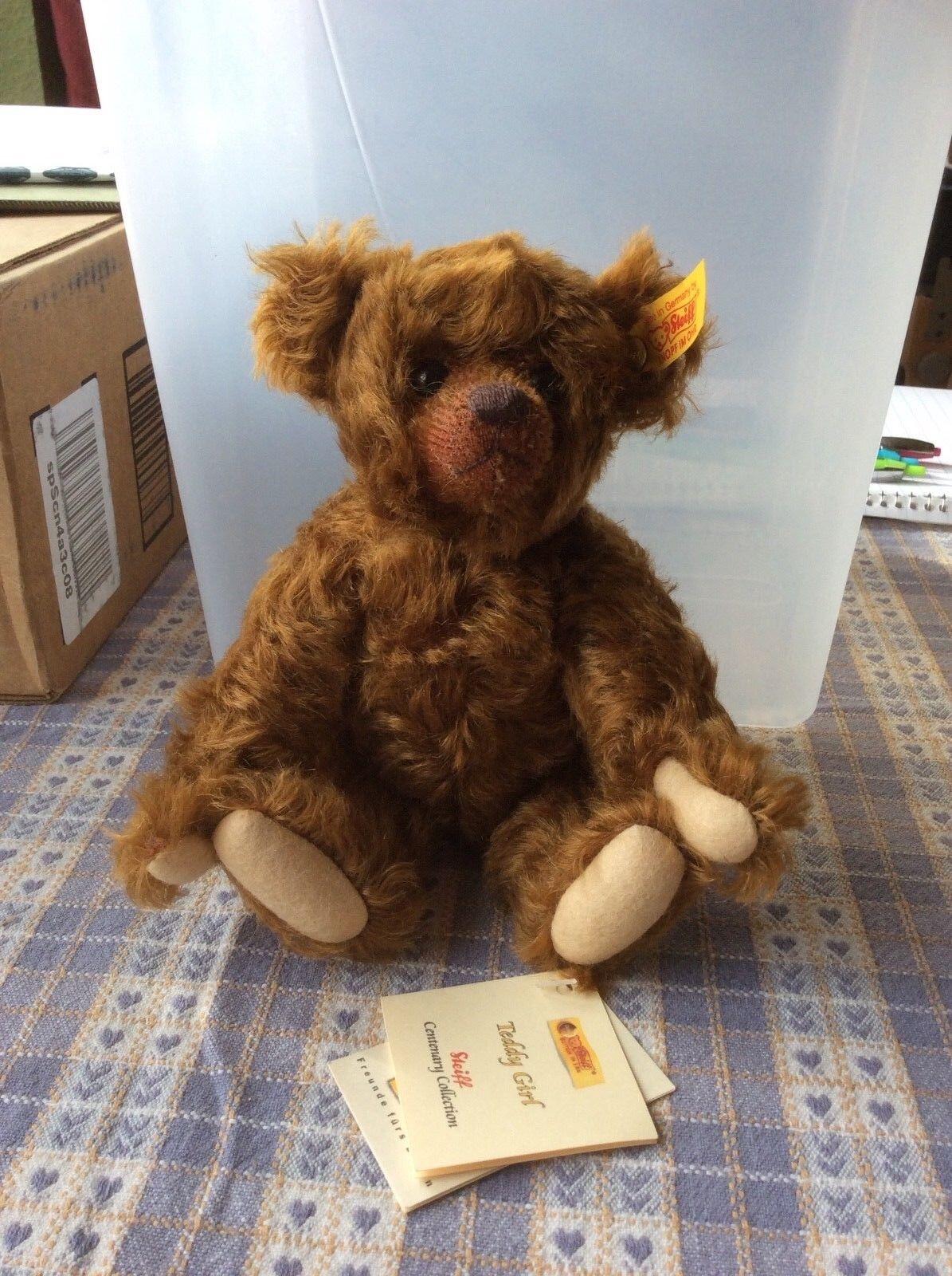 """Steiff Bear, """"Teddy Girl"""" Centenary Collection. Braun Mohair, Posable  666834"""