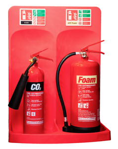 NEW-RED-FIRE-EXTINGUISHER-STAND-DOUBLE