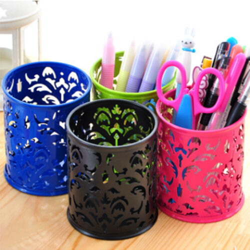 Metal Pattern Mesh Desktop Pen Holder Organizer Office Desk Stationery Case Hot