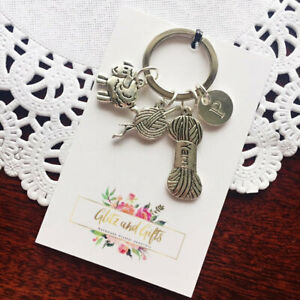 Personalised-Knitting-Knit-Keyrings-Crafter-Keychain-Gift-Sheep-Yarn-Wool