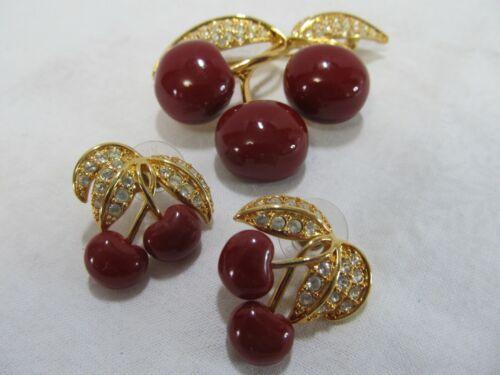 Designer Joan Rivers Cherry Brooch and Earrings