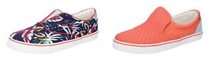 WRANGLER-scarpe-donna-sneakers-slip-on-blu-floreale-e-corallo-tela-con-borchie