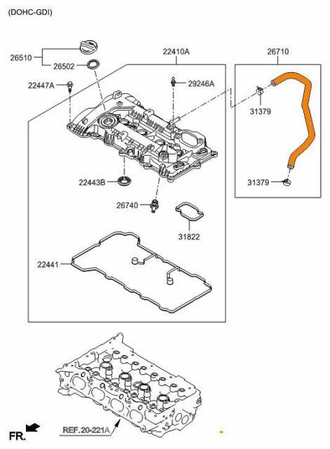 Genuine Hyundai 26710-2E000 Breather Hose Assembly