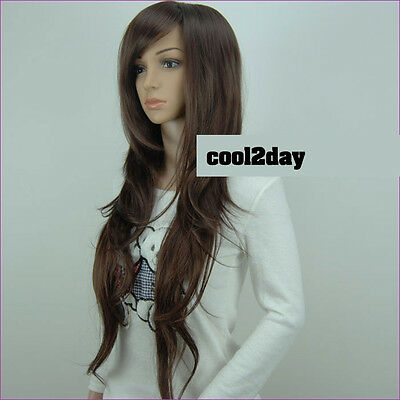 Women Long Wavy Curly  Hair Wig Straight Brown/Black Full Cosplay Wig Dress Wigs