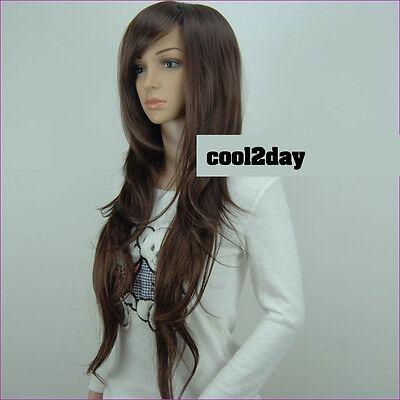 Women Long Wavy Curly  Hair Wig Straight Brown/Black Full Cosplay Wig Dress Wigs