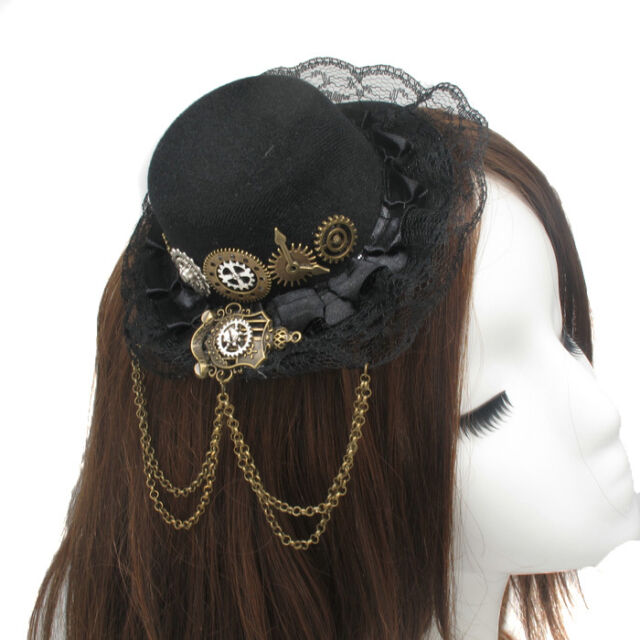 1pc Vintage Gear Lace Mini Hat Magic badge Hair Clip Steampunk Gothic Headwear