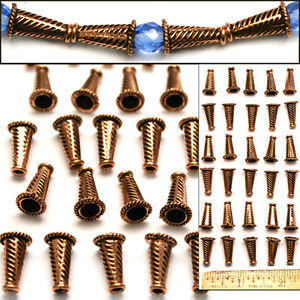 100-SOLID-COPPER-16mm-Bali-Style-Fancy-Handmade-Striped-CONE-Cap-Beads-30pc