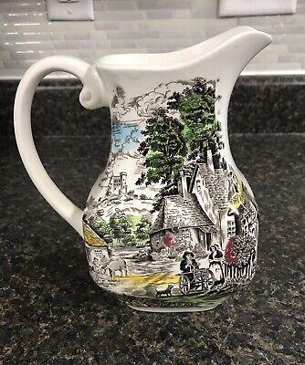 1950s Old England /'Ye Olde Village Inn/' Jug Pitcher Vase /'Shepherd/' Sheep Dog Lamb Enoch Wedgwood /& Co Ltd 4 34 12cms