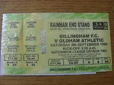 04/09/1999 Ticket: Gillingham v Oldham Athletic (3 Parts Complete). No obvious f