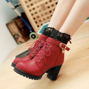Ladies-Lace-Decor-Block-High-Heel-Boots-Lace-Up-Simple-Fashion-Causal-Retro-Shoe