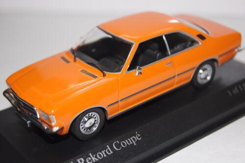 Opel Rekord D Coupe 1975 orange 1:43  Minichamps neu /& OVP