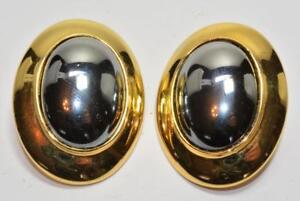 Hell Gestempelt Ben Amun Goldfarbig Hematit Farbe Stein Ovale Form Groß Ohrstecker Verpackung Der Nominierten Marke