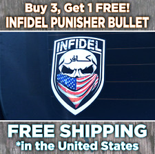Infidel Window Sticker • Punisher Decal • Second Amendment Gun Rifle Rights NRA