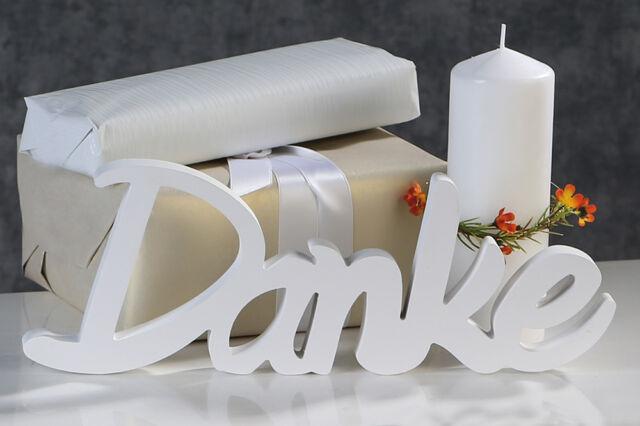 Schriftzug Danke Holz weiß Geburtstag Kommunion Hochzeit Länge 35 cm NEU