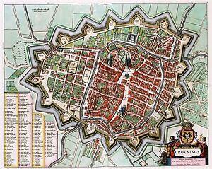 MAP-ANTIQUE-1649-VAN-LOON-GRONINGEN-CITY-PLAN-LARGE-REPLICA-POSTER-PRINT-PAM0096