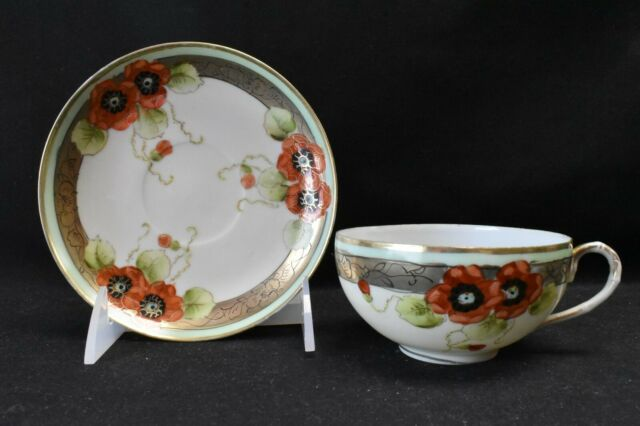 Nippon Hand Painted Cup & Saucer Poppies