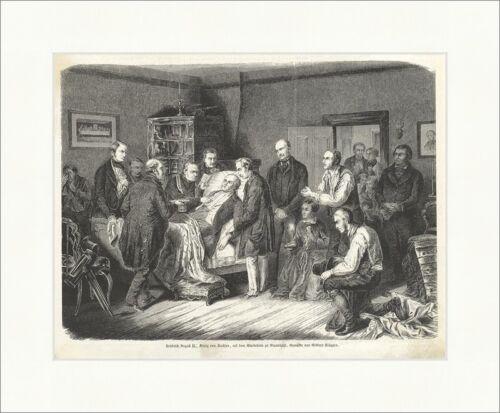 Friedrich August II. König von Sachsen auf dem Sterbebette Holzstich E 6620