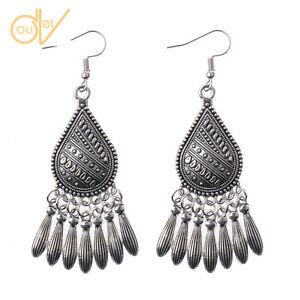 Vintage-Women-039-s-Bohemian-Boho-Style-Round-Silver-Long-Tassel-Dangle-Earrings