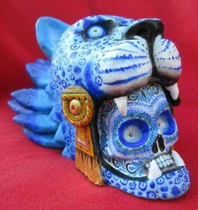 Extraordinary-Ceramic-Feathered-Jaguar-Skull-Warrior-By-Alfonso-Castillo-Orta