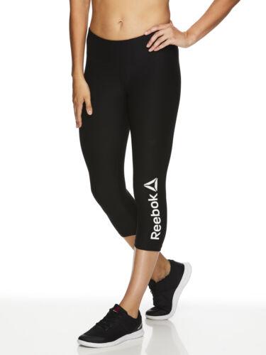 Reebok Women/'s Quick Capri Branded Leggings Black S