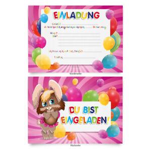 Einladungen-8-Stueck-034-Hase-034-zum-Geburtstag-Einladungskarten-Karten