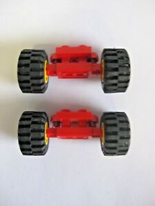 Lego-SPRING-WHEELS-HOLDER-lot-of-2-with-Wheels-Part-2484c01-Suspension-Axles