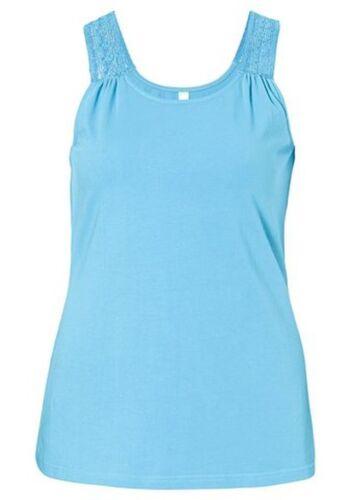 Sheego Casual süßes Damen Top mit Spitze hellblau Gr.40-58 NEU °203