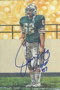 Jim Langer Miami Dolphins  Autographed Goal Line Art Card Football HOF