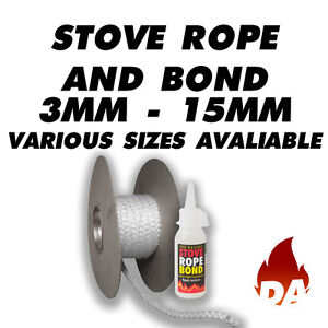 Stove rope door seal for a wood multi fuel burner 3mm 6mm for 14mm stove door rope