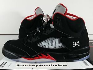 huge discount a10b7 55060 Details about Nike Air Jordan 5 Supreme Black w Receipt V Retro Red  Metallic Silver 824371-001