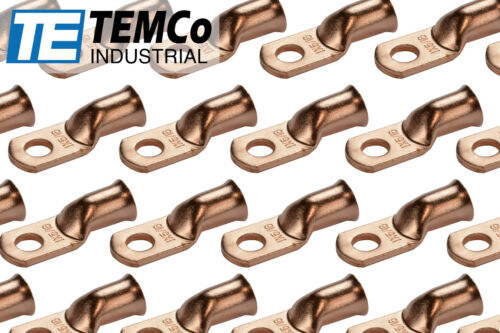 """25 Lot 1 AWG 5//16/"""" Hole Ring Terminal Lug Bare Copper Uninsulated Gauge"""