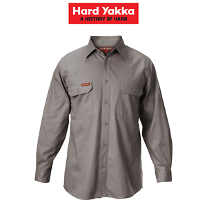 Mens-Hard-Yakka-Long-Sleeve-Cotton-Drill-Work-Shirt-Tradie-Safety-Button-Y07500