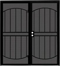 "72""X80"" Heavy Duty Steel Double Storm Security Door with Screen Universal Black"
