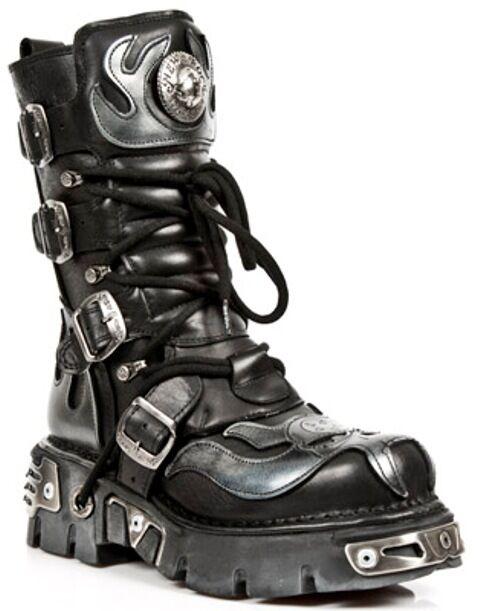 Grandes zapatos con descuento NewRock New Rock 107-S2 Silver Skull Devil Black Leather Biker Goth Rock Boots