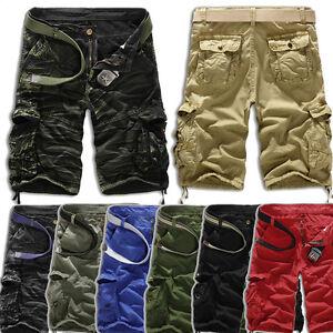 Herren-Sommer-Camouflage-Kurze-Pants-Bermuda-Combat-Cargo-Capri-Shorts-Hosen-32