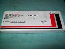 "NOS Snapon™ 3/8"" drive 8 - 19 mm 6-point DEEP IMPACT Swivel Socket Set 209IPLFMY"