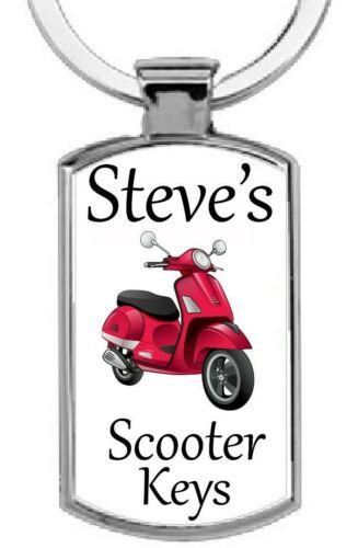 moped Personalised rectangular Scooter Keys Metal Keyring Gift Present