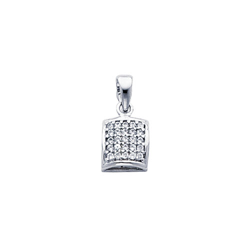 14k Solid White Gold 0.25 Ct Diamond Pave Square Pendant Charm 7mm 0.7 gr