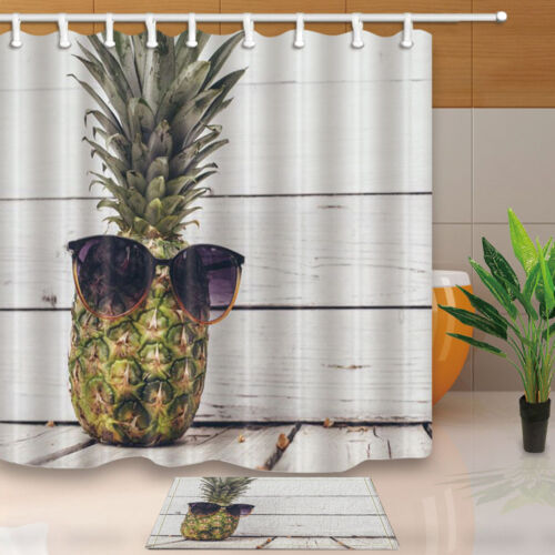 New pineapples Bathroom Shower Curtain Waterproof Fabric w//12 Hook 71*71inch