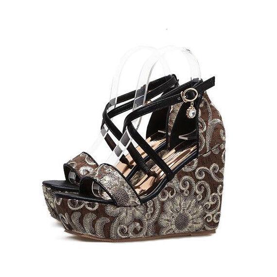 Sandales Élégant noir Couleuré 11 cm Compensé Platform Cuir Synthetique 9884