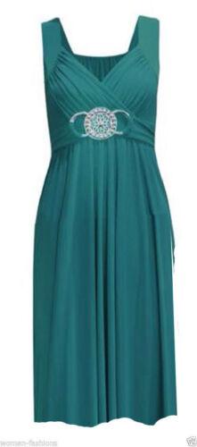 A240 New Womens Ladies 3//4 Short  Buckle Evening Midi Bridesmaid Dress Plus Size