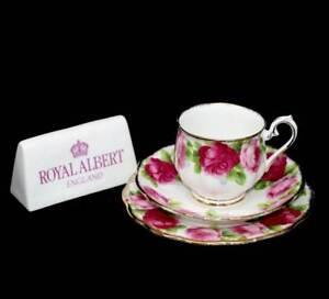 Vintage-Royal-Albert-English-Rose-pink-roses-teacup-trio