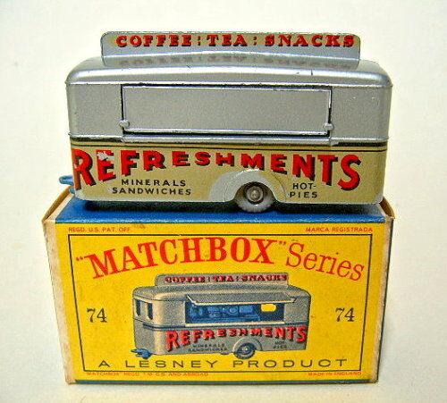 Matchbox RW 74 a Mobile Canteen RARE Moyen Bleu Plaque de Sol en  d  BOX