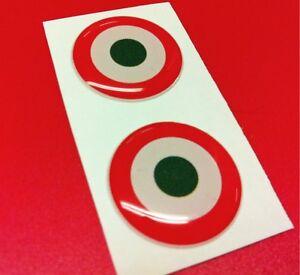 2 Adesivi Resinati Sticker 3D SCUDETTO BANDIERA ITALIA 20 mm