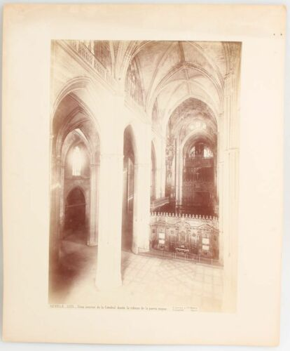 ANTIQUE PHOTO CATHEDRAL SEVILLE INTERIOR. IMAGE BY JEAN LAURENT.