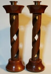 2-Carved-Wood-Wooden-Barley-Twist-Twisted-Carved-Candlesticks-Pair-11-034
