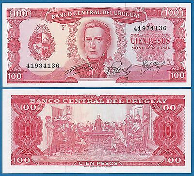 URUGUAY 100 Pesos P 47 ND 1967 UNC Serie A, Low Shipping! Combine FREE! 47a